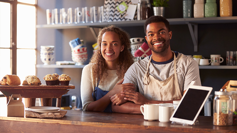 Small Business Owners Of A Coffee Shop