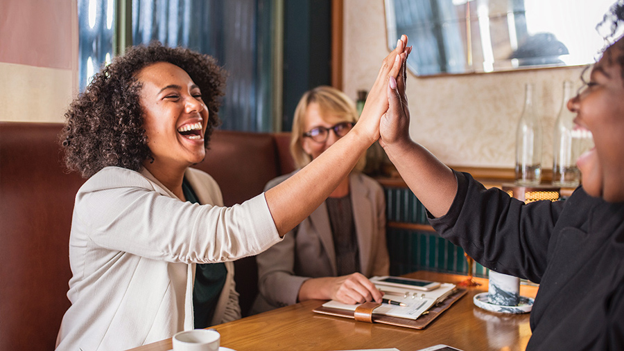 Big High Five and Smiles at Lunch