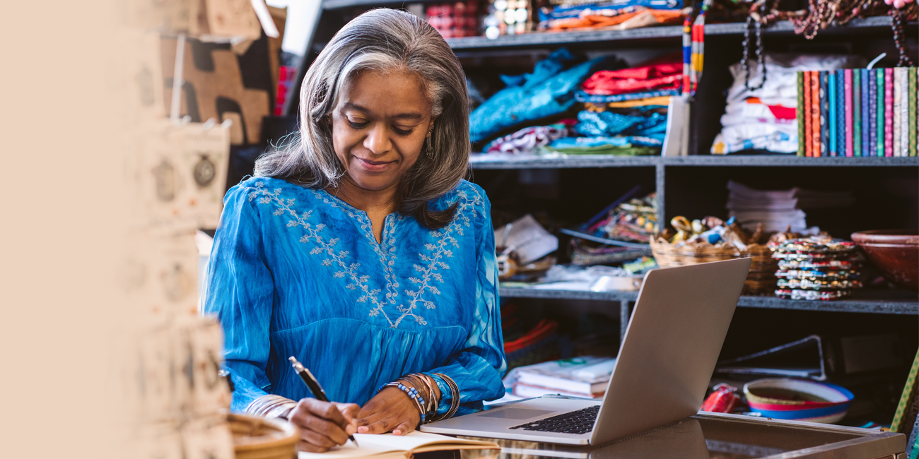 Small Business Owner Checking Figures
